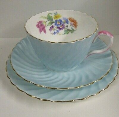 Antique Victorian Aynsley Porcelain Floral Trio Cup Saucer Plate Set Flower Posy