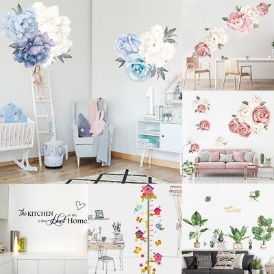 Peony Rose Flowers/Leaves /Letter Wall Sticker Decals Kids Room Home Decor Gift