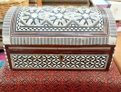 Vintage Big Egyptian Wooden Inlaid Treasure Mother Of Pearl Handmade Jewelry Box
