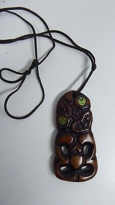 Vintage Maori Tiki Cord Necklace Carved Wooden Paua Shell Eyes