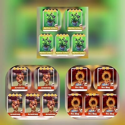 5 x Martian lettuce  5 x Fire Ring 5 x Armstrong   Coin Master Cards