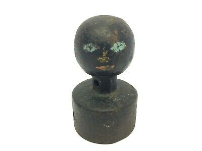Antique Old Black Cast-Iron Round Ball Finial Object Fence Post Topper Part