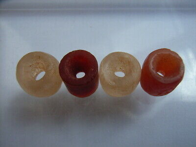 4 Ancient Neolithic Rock Crystal, Carnelian Beads, Stone Age, RARE !! TOP !!