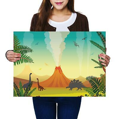 A2 | Cartoon Dinosaur Jurassic Size A2 Poster Print Photo Art Student Gift #2484