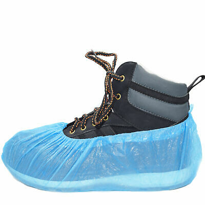 30 Disposable Shoe Cover Overshoes Blue Anti Slip Plastic Cleaning Boot Safety