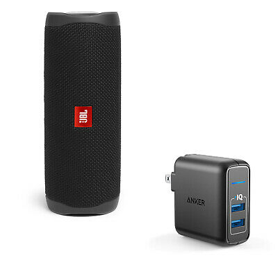 JBL CHARGE 4 Black Portable Bluetooth Speaker w/Anker Wall