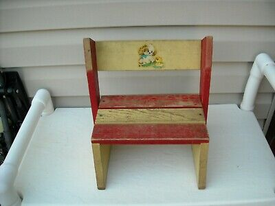 Antique Vintage Childs 1950s Folding Step Stool Chair Wooden