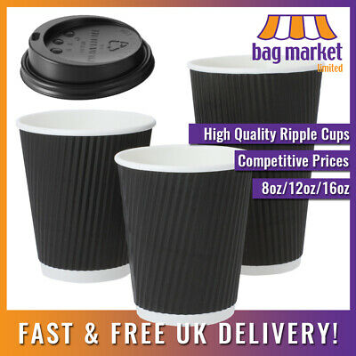 Black Disposable Ripple Wall Coffee Cups & Sip Lids! | Paper/Tea/Hot/Insulated