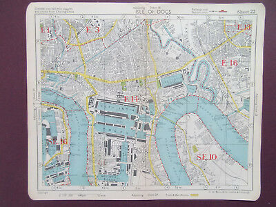 LONDON VINTAGE ISLE OF DOGS LIMEHOUSE CANNINGTOWN  BACONS 1949 MAP 18x22CM