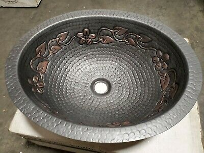 Hand Made Oval Copper Undermount Bathroom or Bar/Prep Sink with floral design