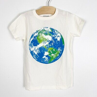 Crewcuts J.Crew Earth Day Boys Graphic Short Sleeve T-Shirt Ivory Blue Size 3T