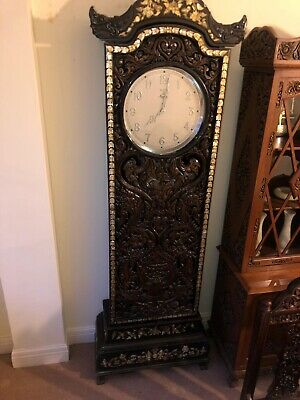 German Antique Victorian Longcase Grandfather Clock Mauthe With Stand