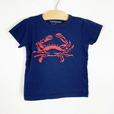 Crewcuts J.Crew Boys Crab Navy Blue Red Graphic Short Sleeve T-Shirt Size 3T