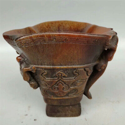 Collect China natural Ox horn Hand-carved Chilong pattern Ox horn cup wine cup