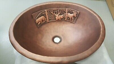 Handmade Oval Coffee Forest Design Copper Top Mount Bathroom Bar/Prep Sink