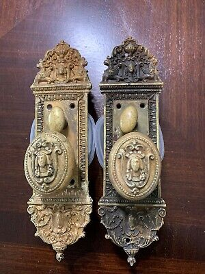 Beautiful Antique Victorian Oval Door Knob & Plates with Face /Griffin
