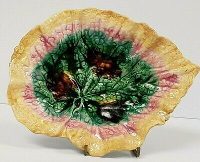 """Etruscan Majolica 9.25"""" Griffin Smith & Hill Pickle Begonia Leaf Plate 19th Cent"""