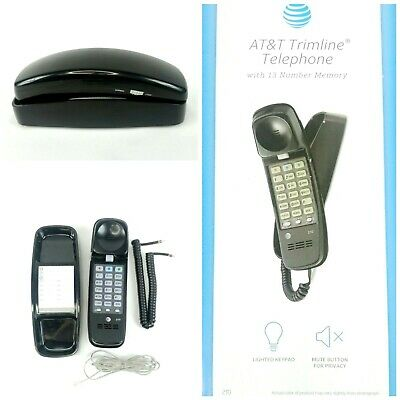 AT&T Telephone Trimline 210 Phone Black Push Button Touch Tone Desk Wall Corded