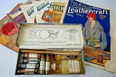 Vintage Reeves Leather Work Dye Kit No.1 +6 Leather Craft Magazine
