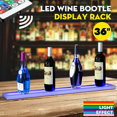"36"" LED Lighted Back Bar Liquor Display Shelf Wine Bottle Stand Rack W/ 44Key RC"