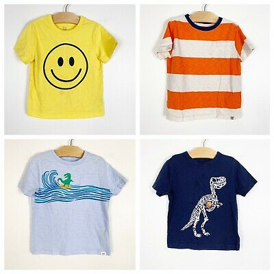 Baby Gap Toddler Boys Short Sleeve Graphic T-Shirt Lot Dinosaur Striped Smile 3T
