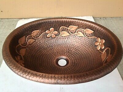 Hand Made Oval Copper Top Mount Bathroom or Bar/Prep Sink with floral design