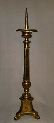 "Large 19th Century French Gilt Brass Pricket Church Candlestick Paw Feet 31"" h."