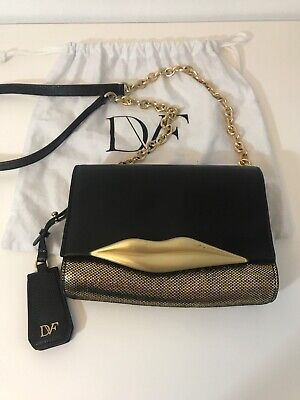 0463535155eb $350 NWT DVF 440 Mini Faceted Stud Leather Black Cross Body Gold ...