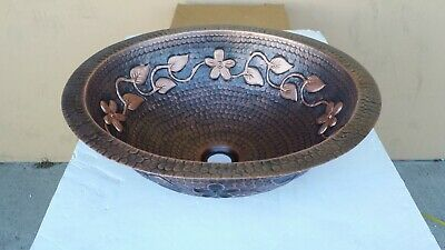 Hand Made Round Copper Undermount Bathroom or Bar/Prep Sink with floral design