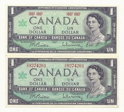 2 x 1967 CANADA CENTENNIAL ONE DOLLAR BANK NOTES