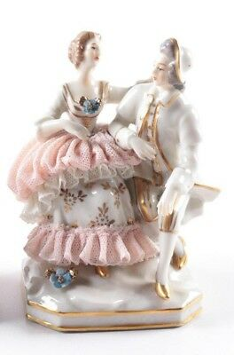 Early 20th Century Ackermann & Fritze Dresden Lace Porcelain Figurine Group