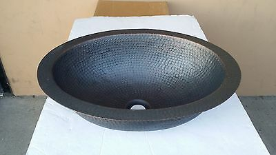 Hand Made Oval Hammered Plum Finish Copper Undermount Bathroom Bar/Prep Sink