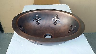 Handmade Oval Coffee Copper Undermount Bathroom Bar Sink w/ Fleur-De-Lis Design