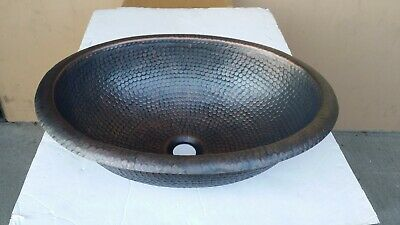 Handmade Oval Hammered Plum Finish Copper Drop-In Bathroom or Bar/Prep Sink