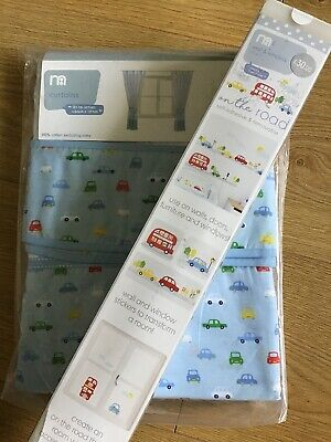 Mothercare On The Road Tab Top Curtains With Tie Backs 168cm X 137cm & Stickers