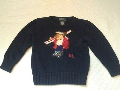 Polo By Ralph Lauren Navy Blue Long Sleeve Sweater With Ski Bear Boys Size 3/3T