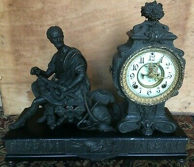 Ornate Figural Striking Ansonia Mantle Clock