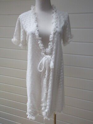 Vintage White Lace Short Dressing Gown Robe - Large