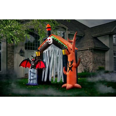 Halloween Decor Inflatable Haunted House 10 ft. Pre-Lit Spooky Trees Tombstone