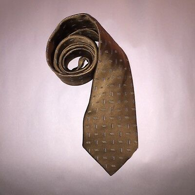 pre-loved authentic HERMÈS gold heavy silk NECKTIE / cravotte Geometric Accent