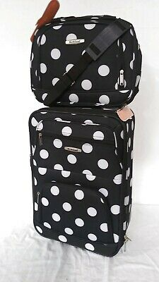 $240 New Rockland 2 Piece Carry On Luggage Set Rolling Suitcase Multi Polka Dots