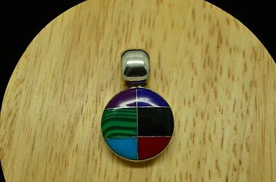 925 Sterling Silver Inlaid Colorful Multistone Mosaic Round Pendant Charm #A4932