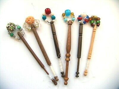 6 Genuine Antique lace making bobbins carved wood and spangled beads
