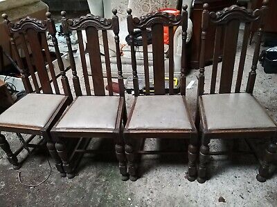 Set of four character antique hardwood dining chairs with potential to restore