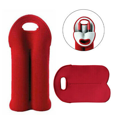 Insulated Neoprene Drink/Wine Two Bottle Tote Bag Holder Cooler Carrier Protect