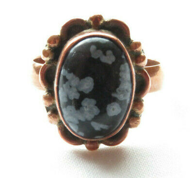 Antique Victorian Snowflake Obsidian Oval Cabochon Copper Size 6.5 Ring