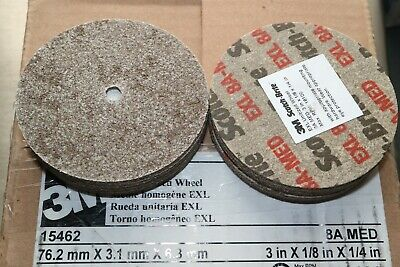 "(10) 3M Scotch Brite EXL Unitized Deburring Wheel 8A Medium 3"" x 1/8"" x 1/4"""