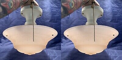 """1930's Rewired Pair Three Chain Fixtures With 10"""" Wide Peach Shades 81C"""