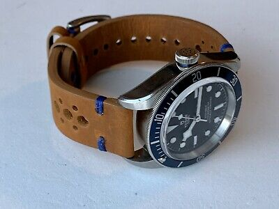 19mm BROWN Vintage Racing Crazy Horse Leather Watch Strap Band BLUE Stitch