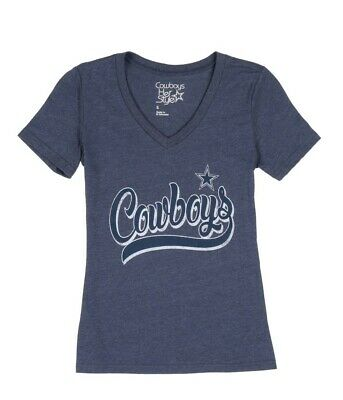 Dallas Cowboys NFL Women's V-neck Short Sleeve Distressed Tee T-Shirts: S-L